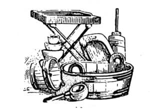 engraving of 1800s washing tools