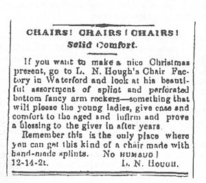 Hough chair ad in the Loudoun Telephone 1883