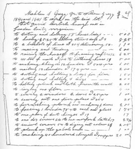 Inventory of materials used to build the log cabin in 1840