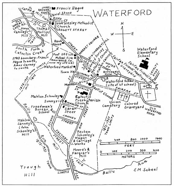 Map showing Waterford VA history by Scheel