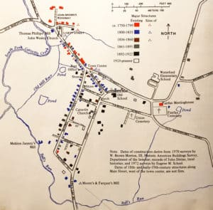 A map showing the dates Waterford Virginia's 107 houses and buildings were constructed
