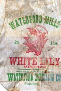 Flour bag from the Waterford Mill in Waterford VA