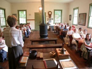 Schoolchildren experiencing a typical 1880's school day at the Waterford Foundation's Second Street School Program