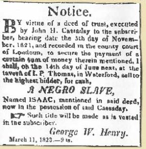 Waterford slave auction notice, March 11, 1823 in Waterford Virginia