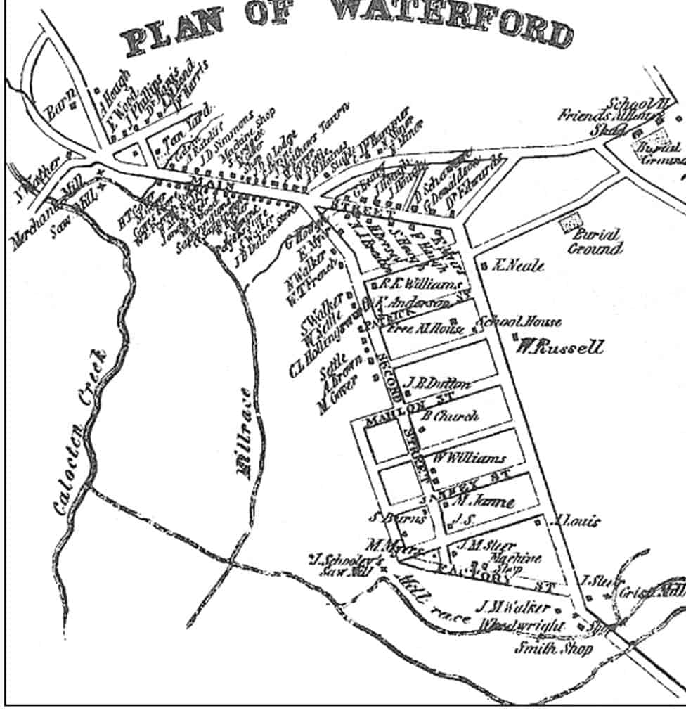 This map, adapted from an 1854 Loudoun County map by Quaker historian Yardley Taylor